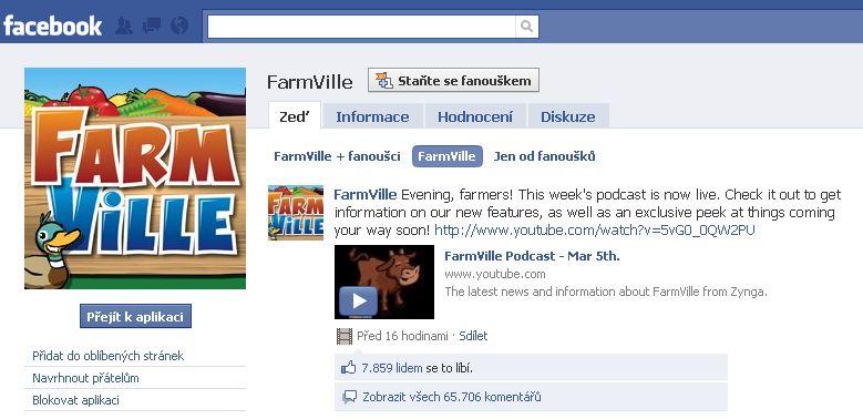 FarmVille - aplikace na Facebook
