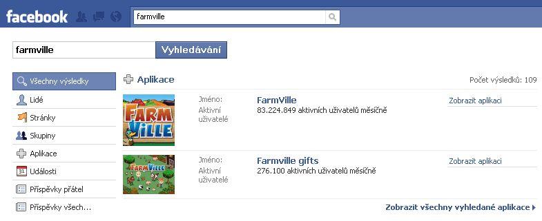 Vyhledávání FarmVille na Facebook